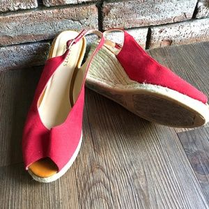 TALBOTS Red Canvas Espadrille Wedge Shoes ~sz 11